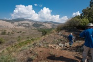 The mountains are in Lebanon. Trenches where Israeli soldiers could lookout over the area