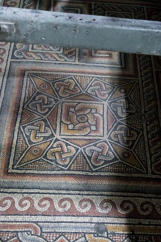 Mosaic floor from the original church built in 326 AD