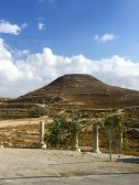 Herodium hill, much of it built up by Herod. Surrounded by a Roman town