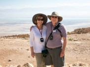 We're on top of Masada, with the Dead Sea and Jordan behind us