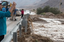 The road was flooded out on the way to Ein Gedi. We had to delay for most of an hour until the water receded. The water came from storms in Jerusalem.
